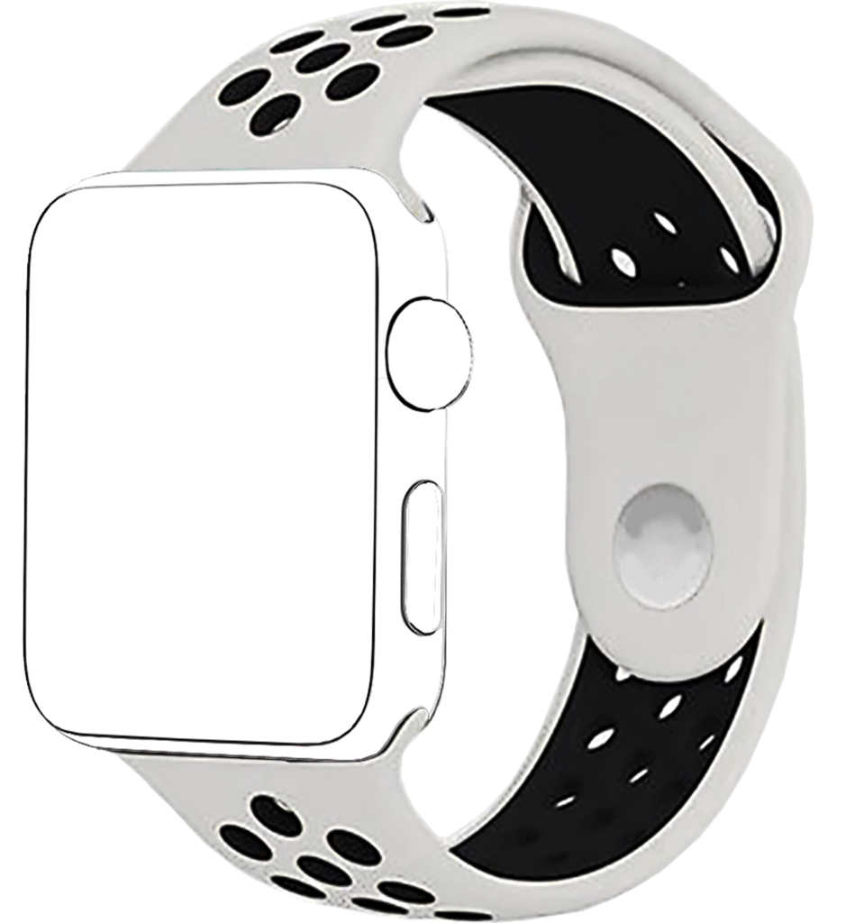 See clipart apple watch. White black band for