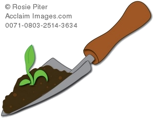 Illustration of spade with. Seedling clipart garden soil