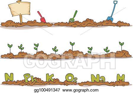 Seedling clipart garden soil. Vector stock elements borders