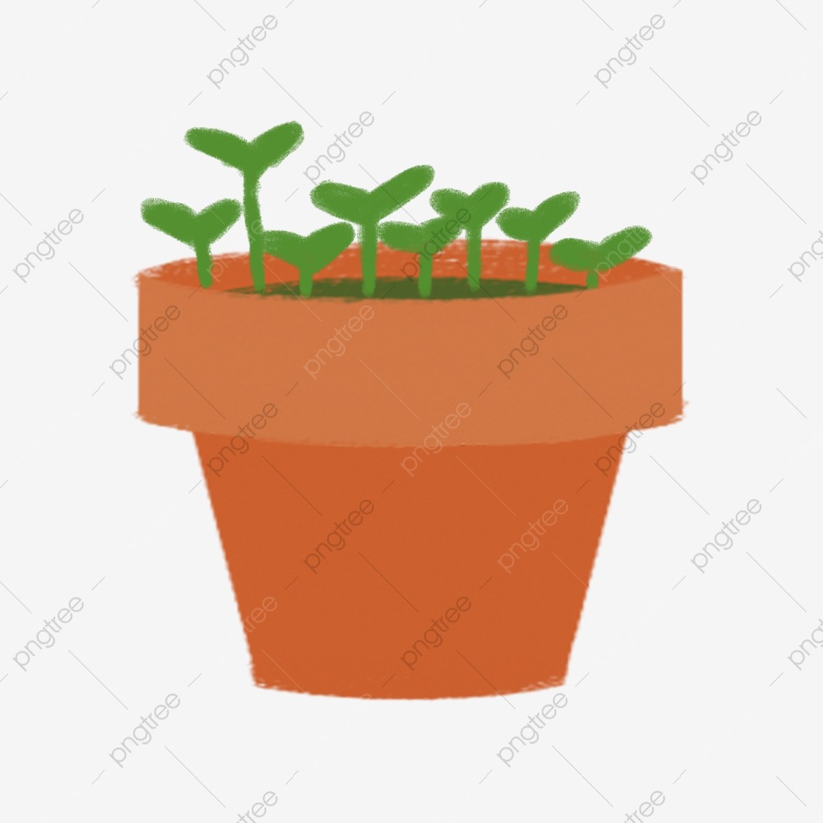 Seedling clipart potted plant. Hand painted green small