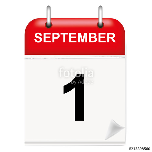 Daily calendar of single. September clipart first