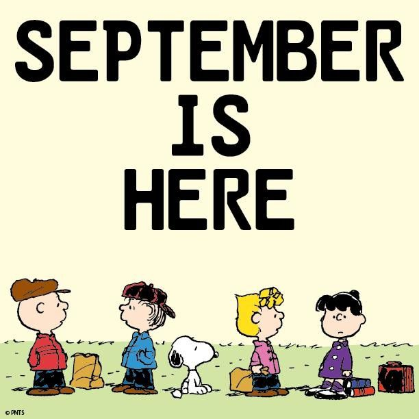 September clipart peanuts. Snoopy and the gang