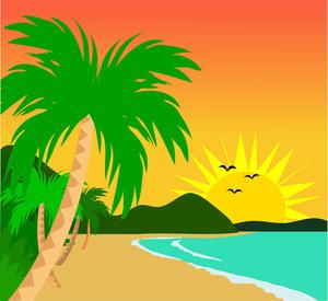 Sunset clipart hawaiian sunset. Sitting clip art panda