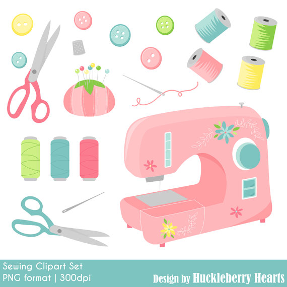 Sewing clipart. Machine digital clip art