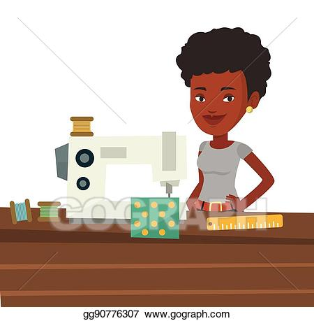 Sewing clipart manufacturing worker. Vector art seamstress using