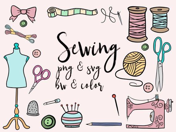 Clip art cute doodles. Sewing clipart pretty