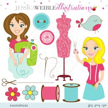 Sewing clipart pretty. Seamstress cute digital clip