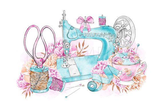 Cute machine illustration printable. Sewing clipart pretty