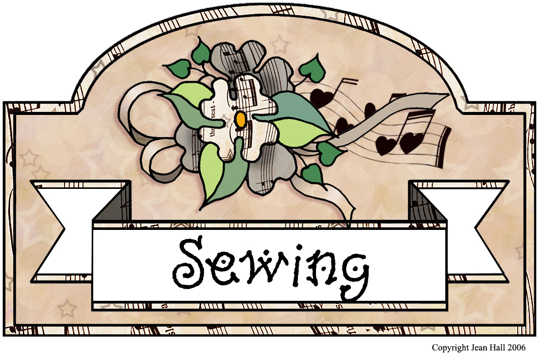 Artbyjean vintage sheet music. Sewing clipart sewing box
