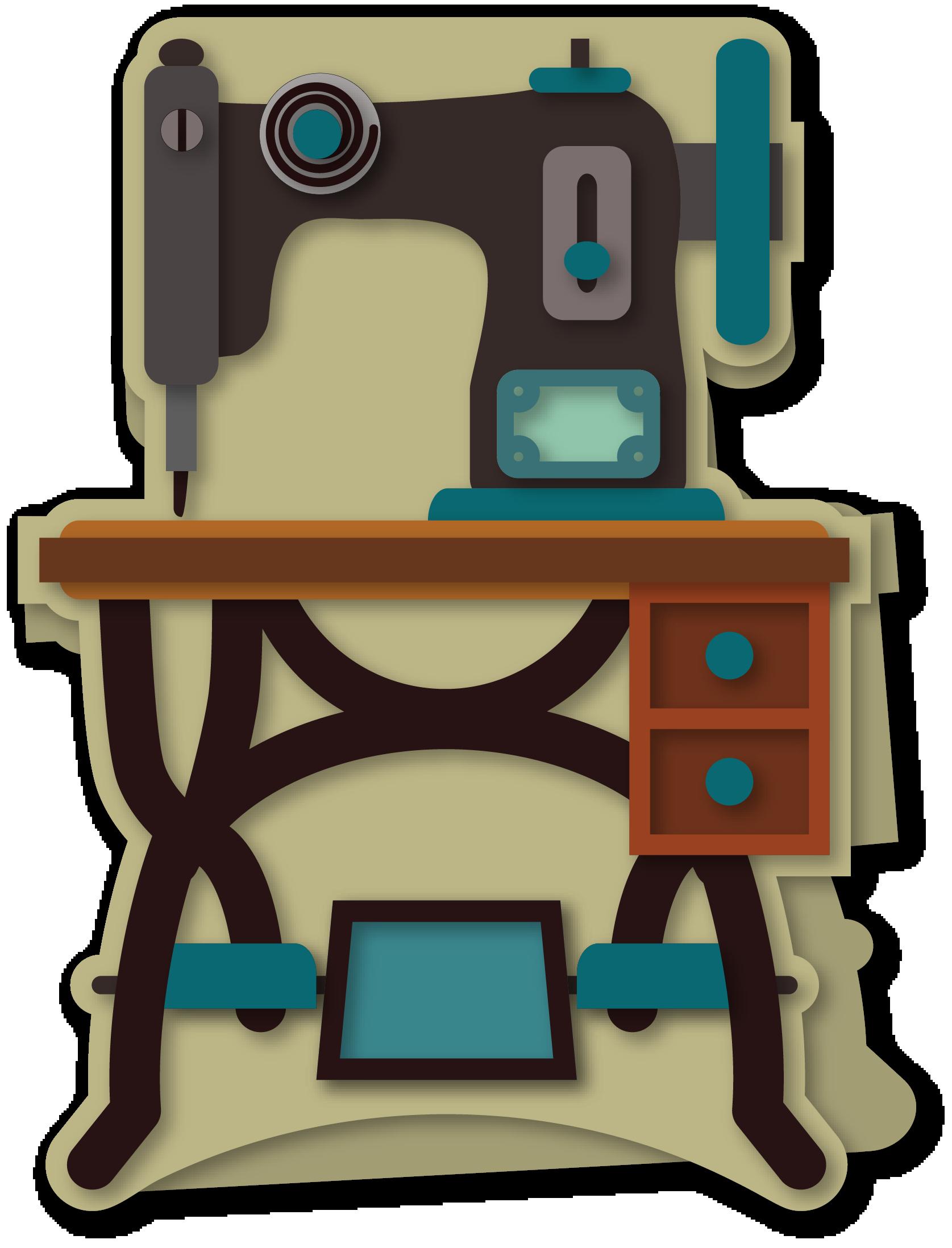 Sewing clipart sewing box. Treadle machine a card