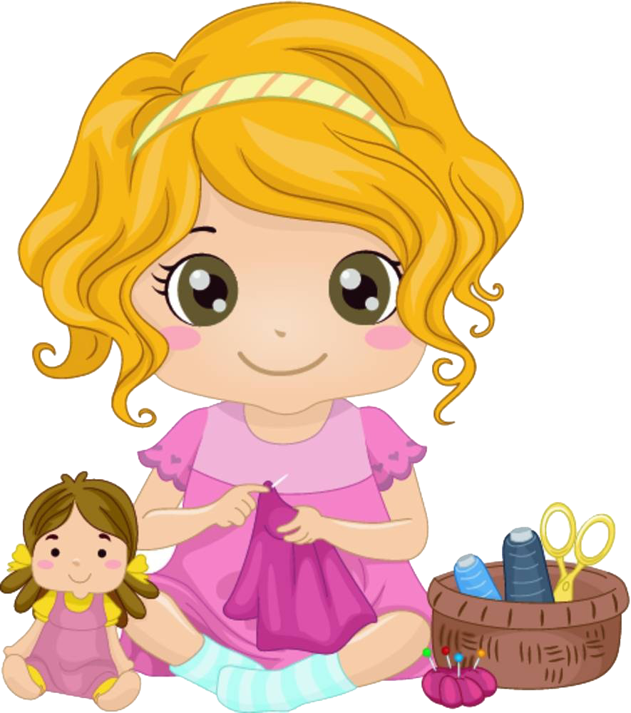 Girl cartoon illustration the. Sewing clipart sewing clothes