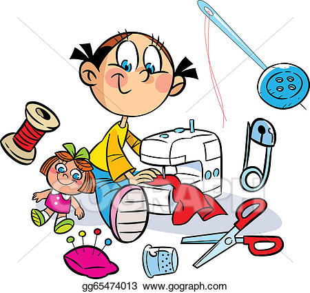 Sewing clipart sewing clothes. Vector stock girl is