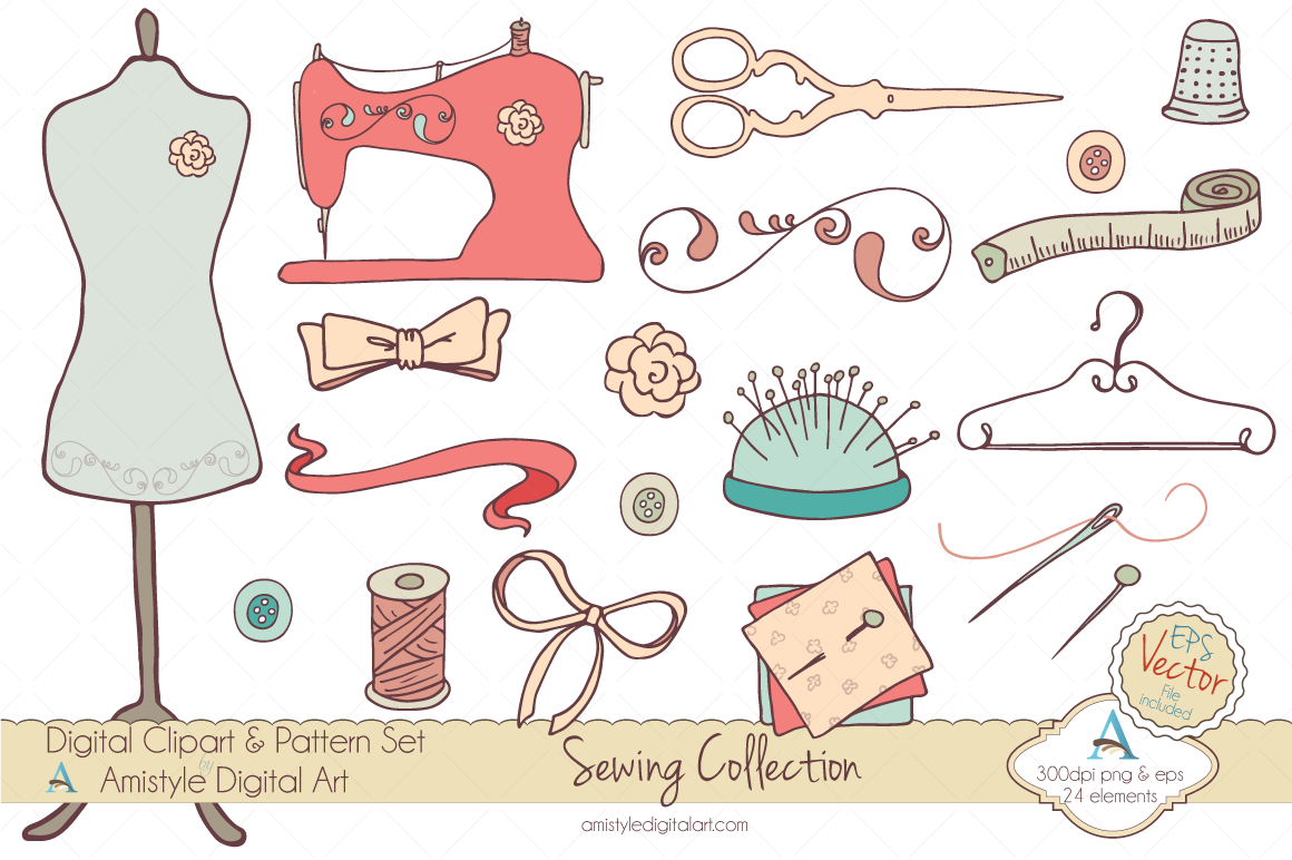 Hand drawn supplies set. Sewing clipart sewing material