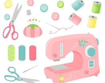 Sewing clipart sewing supply. Clip art etsy