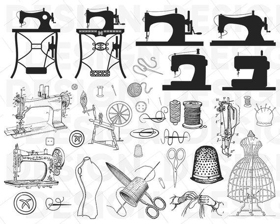 Vintage machine bundle thread. Sewing clipart svg