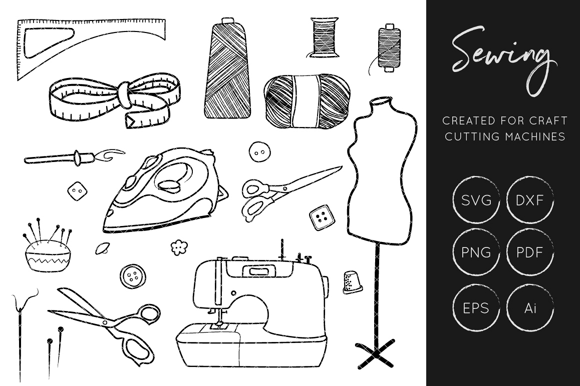 Cut files crafters . Sewing clipart svg