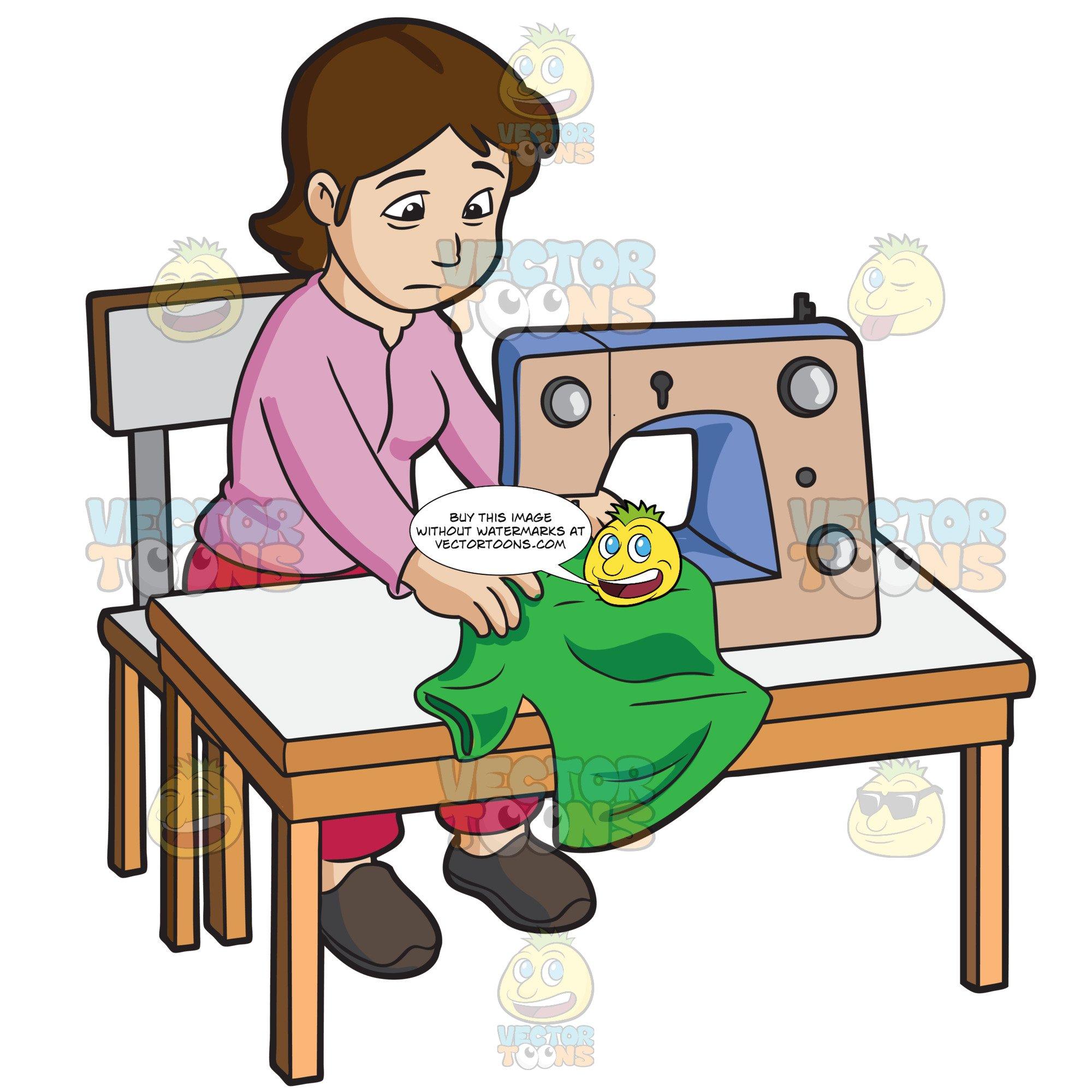 A female sweatshop worker. Sewing clipart sweatshops