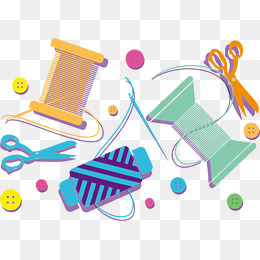 Sewing clipart useful material. Png vector psd and