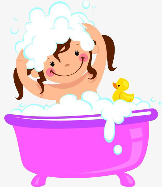 Shampoo clipart. A girl with bath
