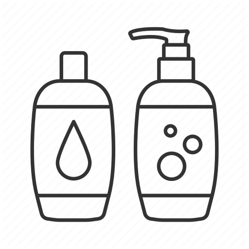 childcare linear outline. Shampoo clipart body wash bottle