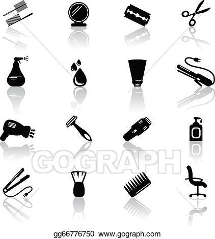 Vector hair icons illustration. Shampoo clipart salon