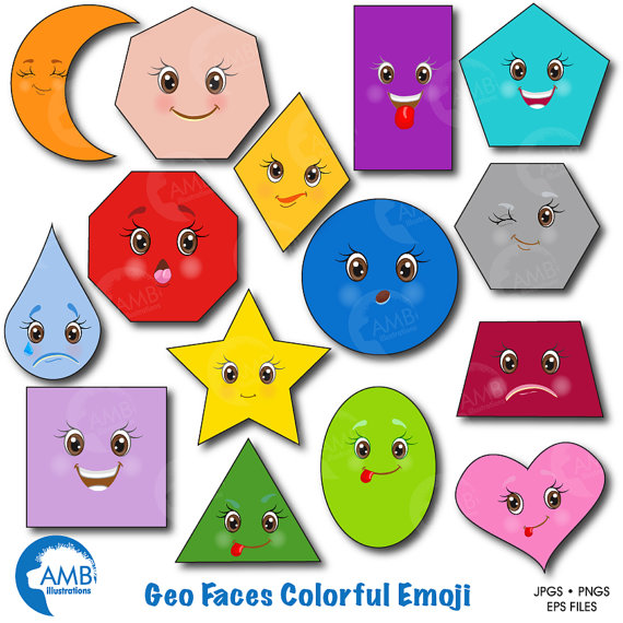 Emoji faces feelings geometric. Shapes clipart
