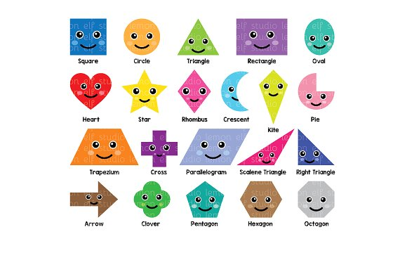 Shapes clipart. Fun les cl illustrations