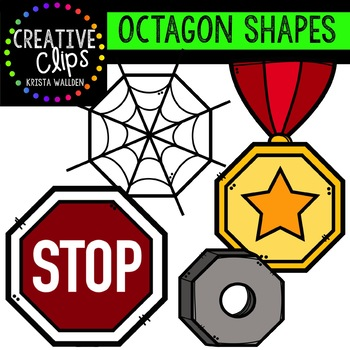 Octagon clips digital . Shapes clipart creative
