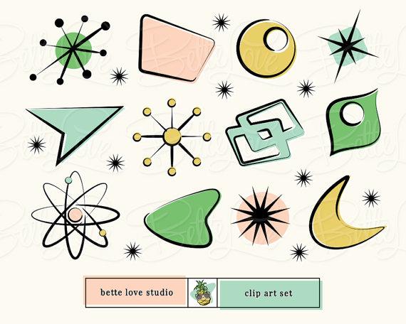 Shapes clipart retro. Clip art atomic starburst