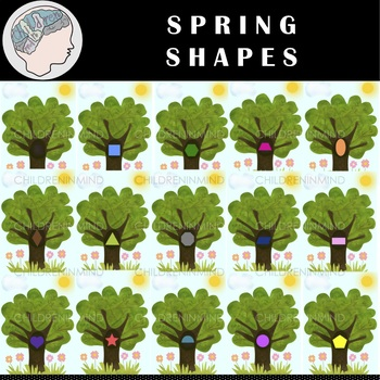 Shapes spring color . Tree clipart shape