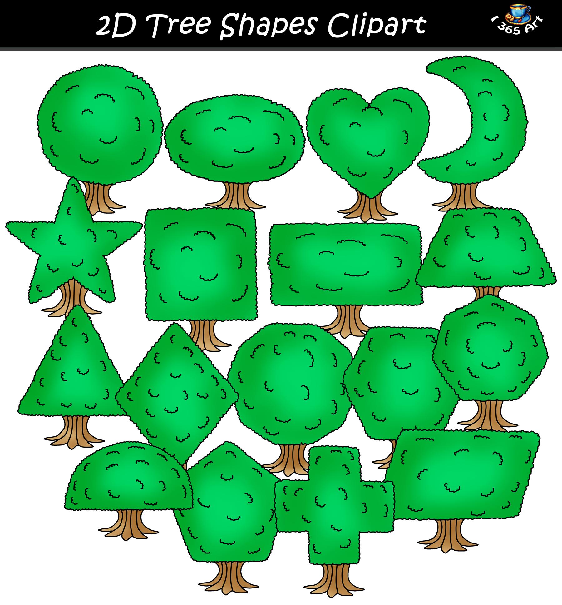 d shapes graphics. Tree clipart shape