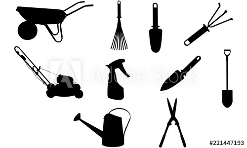 Gardentools silhouette svg construction. Shears clipart lawn tool