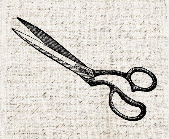 Vintage sewing scissors digital. Shears clipart ornate