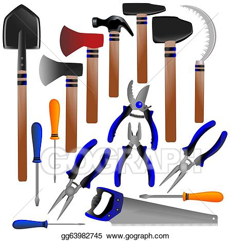 Stock illustration construction tools. Shears clipart shovel