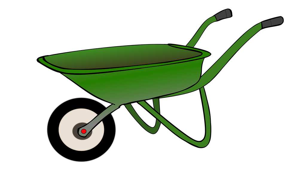 Image of wheelbarrow group. Shears clipart yard