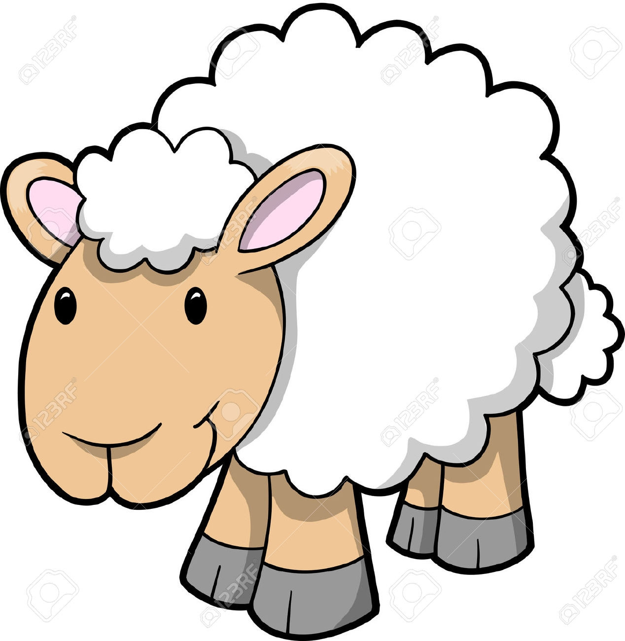 Clip art black and. Sheep clipart