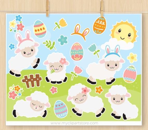 Sheep clipart easter. White lamb happy eggs