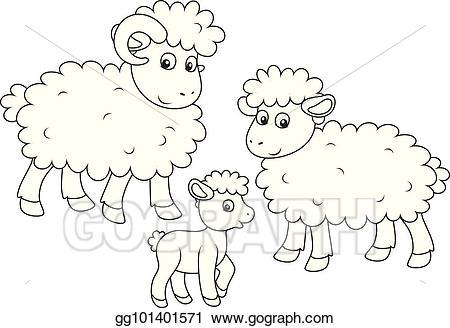 Sheep clipart family. Vector stock lamb and