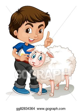 Vector stock little boy. Sheep clipart kid