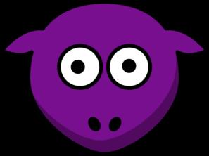 Sheep clipart purple. Looking straight clip art