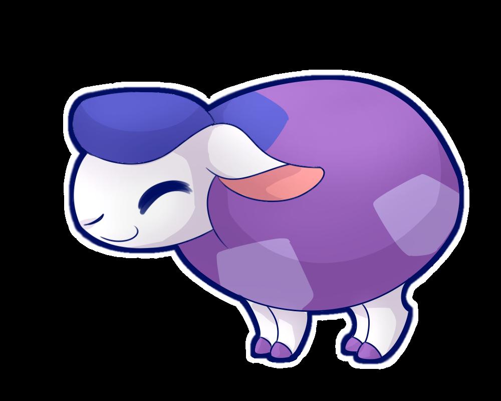 Sticker animal jam by. Sheep clipart purple