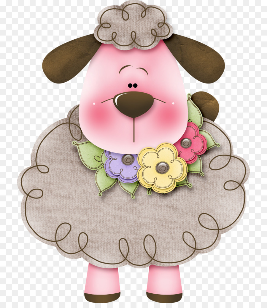 Pink flower cartoon goat. Sheep clipart sheep drawing