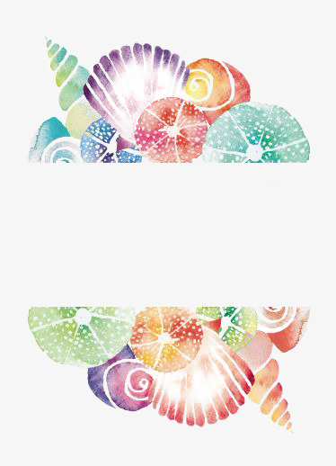 Watercolor clip png images. Shell clipart border