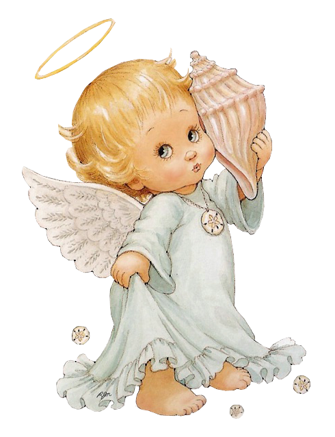 Little angel with gallery. Shell clipart cute