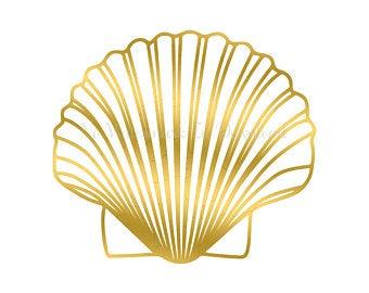 Foil art etsy . Shell clipart gold clipart