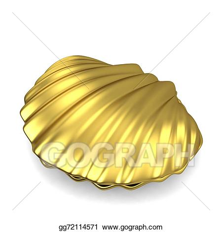 Shell clipart gold clipart. Stock illustration sea drawing