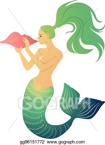 Eps vector mermaid blowing. Shell clipart horn