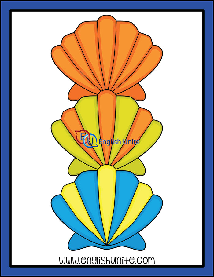 Shell clipart one color. Under the sea rainbow