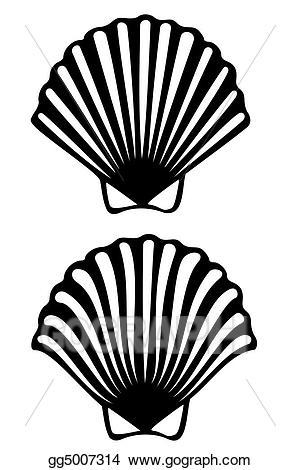 Stock illustration gg gograph. Shell clipart scallop stencil