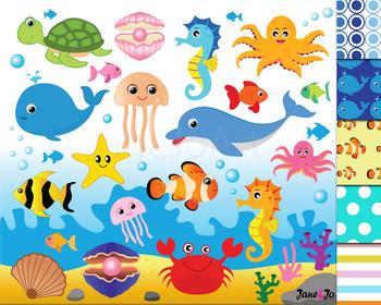 Shell clipart sea animal. Ocean animals theme under